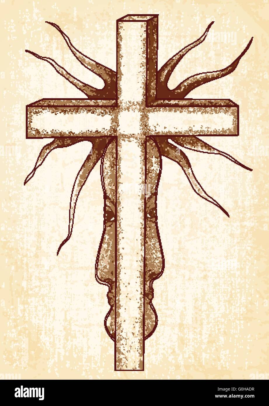 Gothic abstraction with cross on canvas background. Surreal vector graphics. - Stock Vector