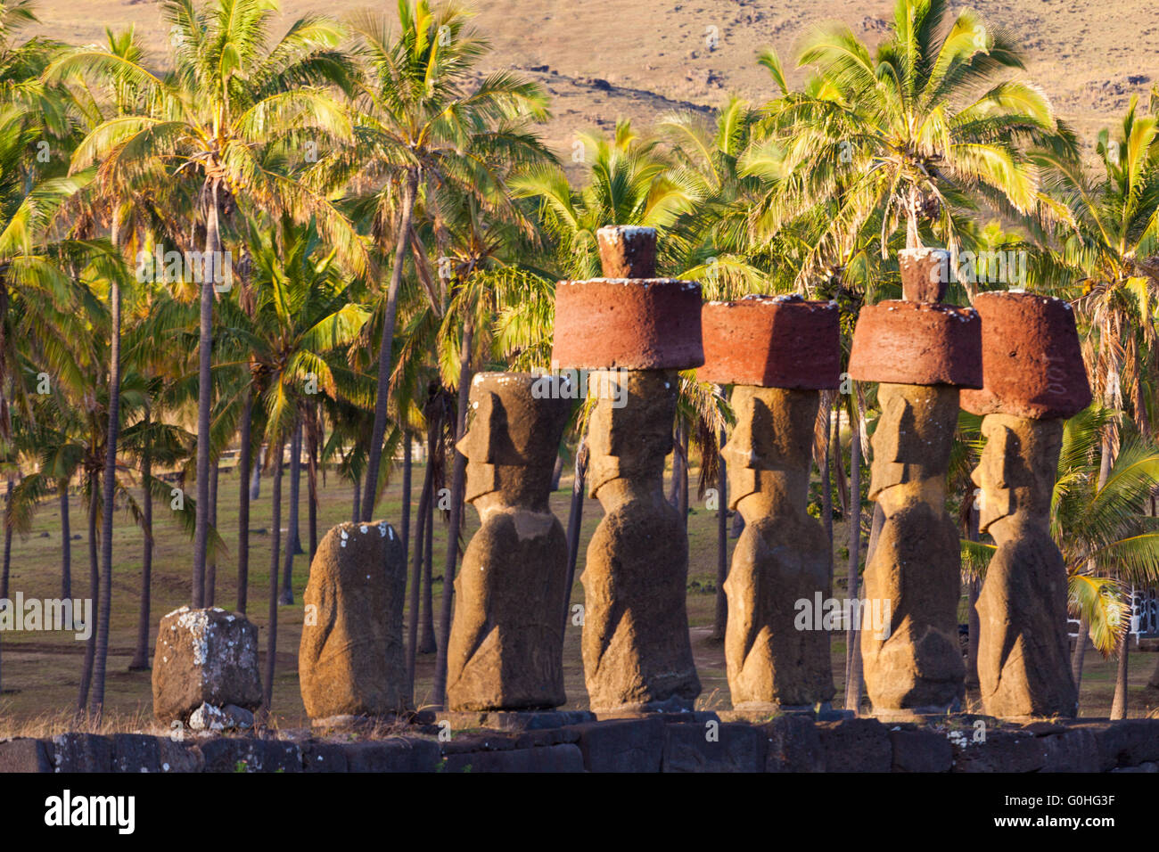 Anakena beach, Rapa Nui - Stock Image