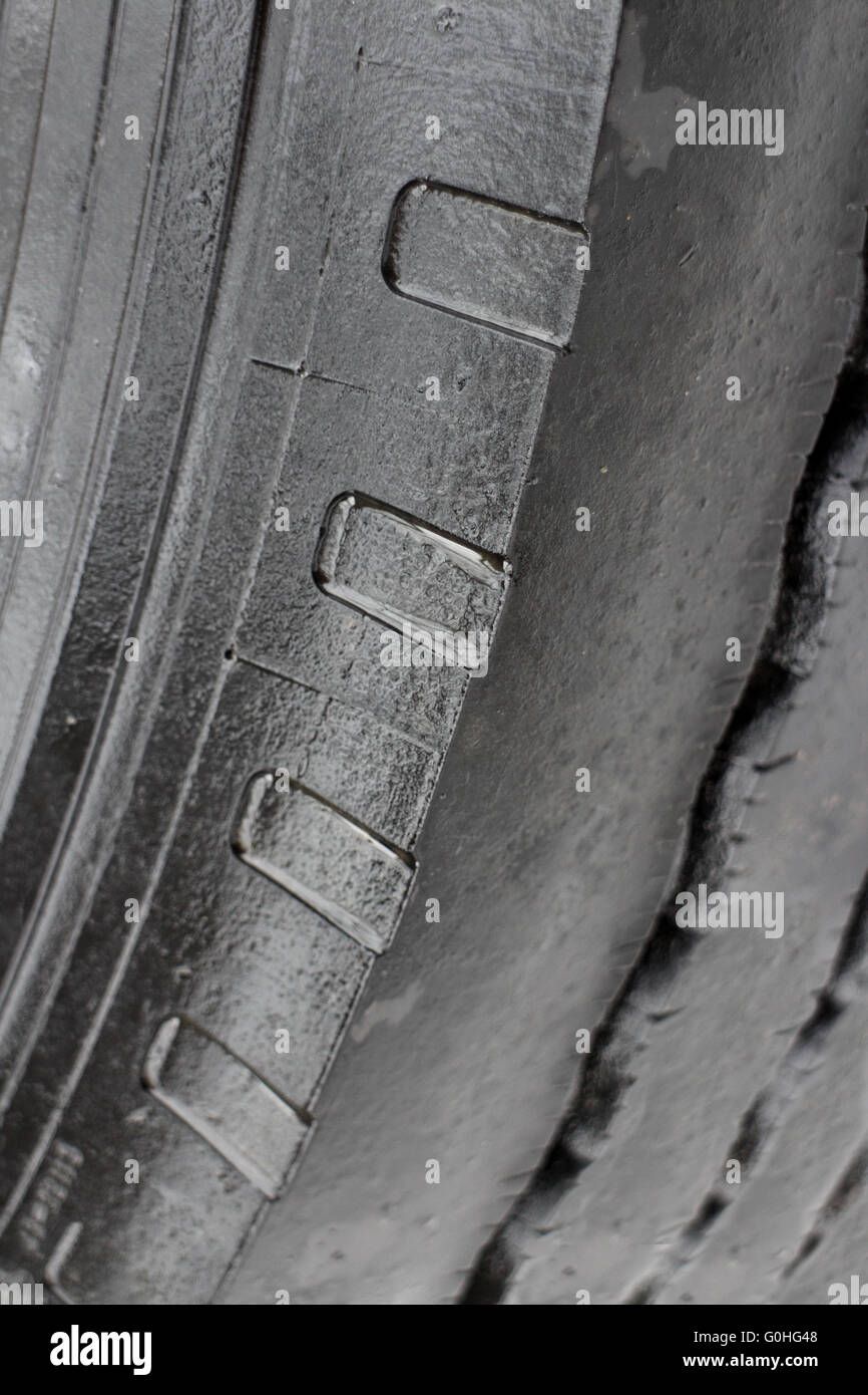 worn tire tread - Stock Image