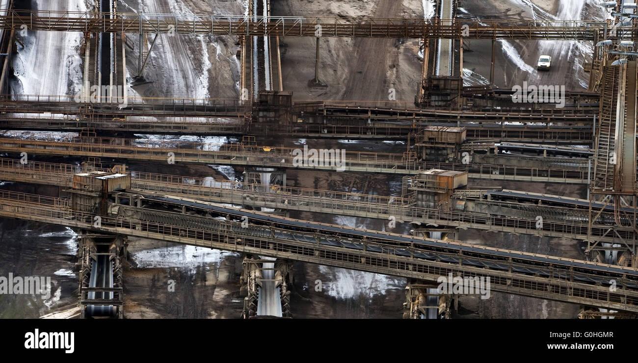 conveyor system of brown coal surface mining Inden, North Rhine-Westphalia, Germany, Europe Stock Photo