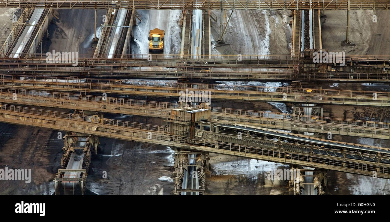 conveyor system of brown coal surface mining Inden, North Rhine-Westphalia, Germany, Europe - Stock Image