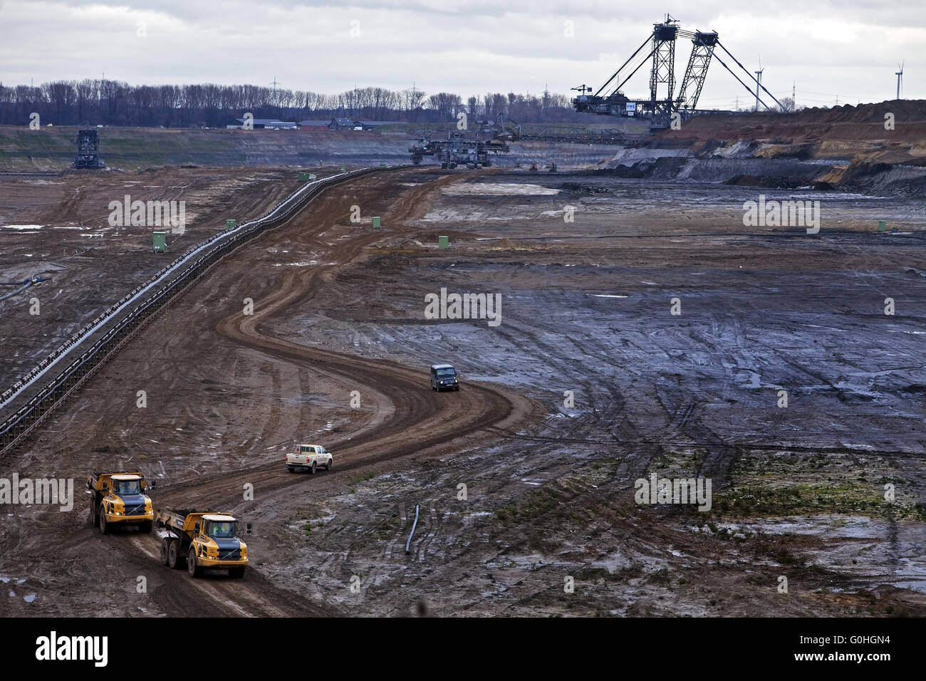 transport in brown coal surface mining Inden, North Rhine-Westphalia, Germany, Europe - Stock Image