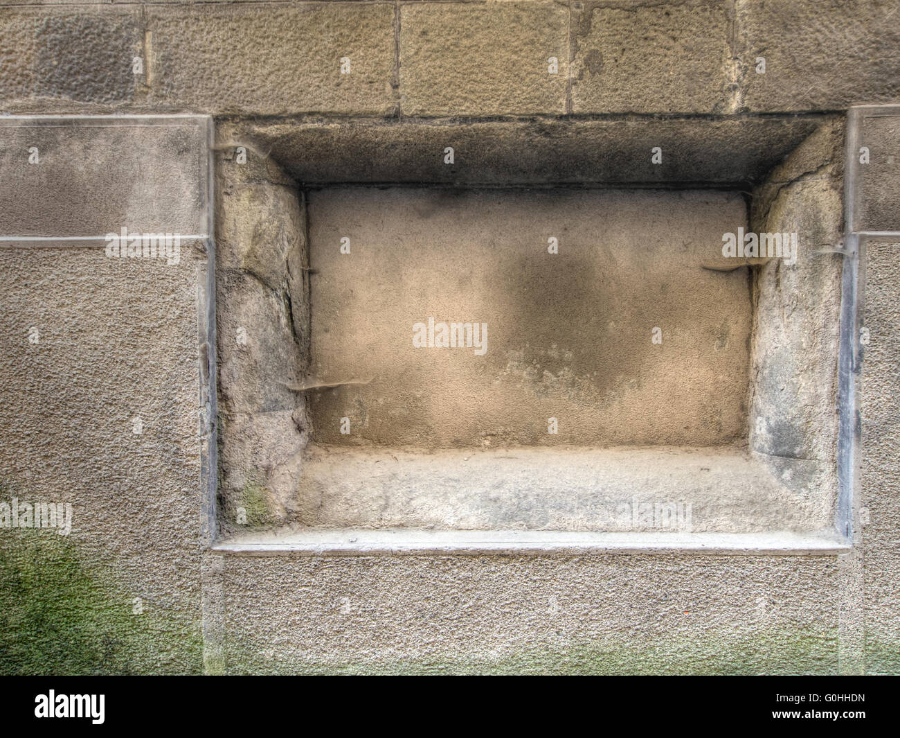 Ancient wall plaque with no wording. I wonder what was intended to go here.... - Stock Image