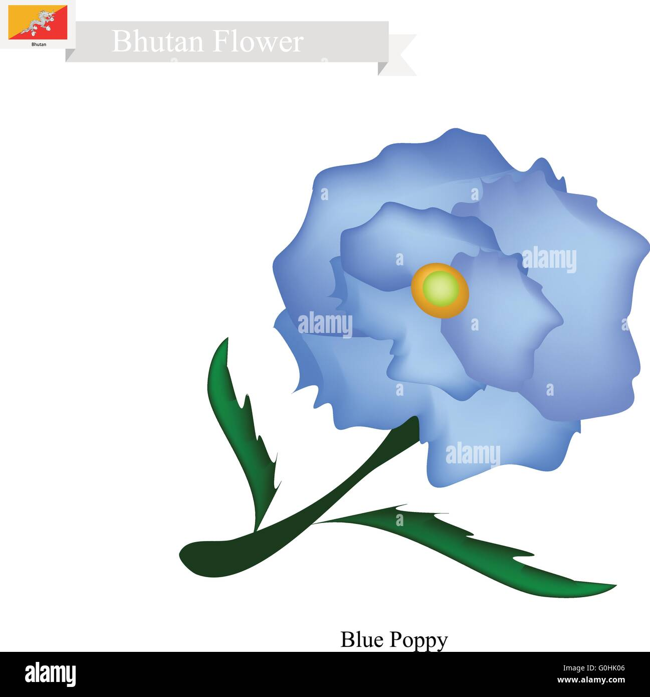 Bhutan Flower, Illustration of Blue Poppy, Himalayan Poppy, or Meconopsis Sheldonnii Flower. The National Flower - Stock Vector
