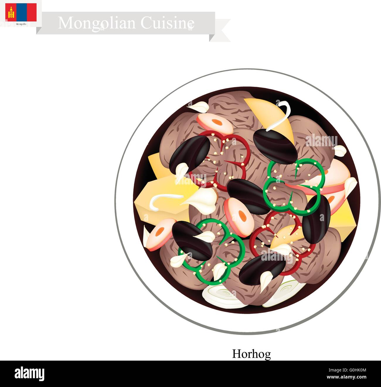 Mongolian Cuisine, Horhog or Meat Barbecue with Carrots, Cabbage and Potatoes Cooked with Hot Stones. One of Most - Stock Vector
