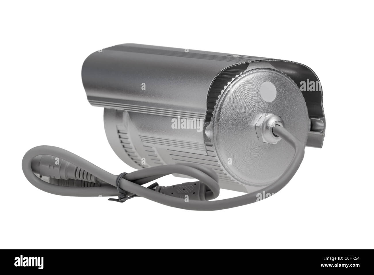 External security surveillance camera with night vision LED backlight isolated on white background - Stock Image