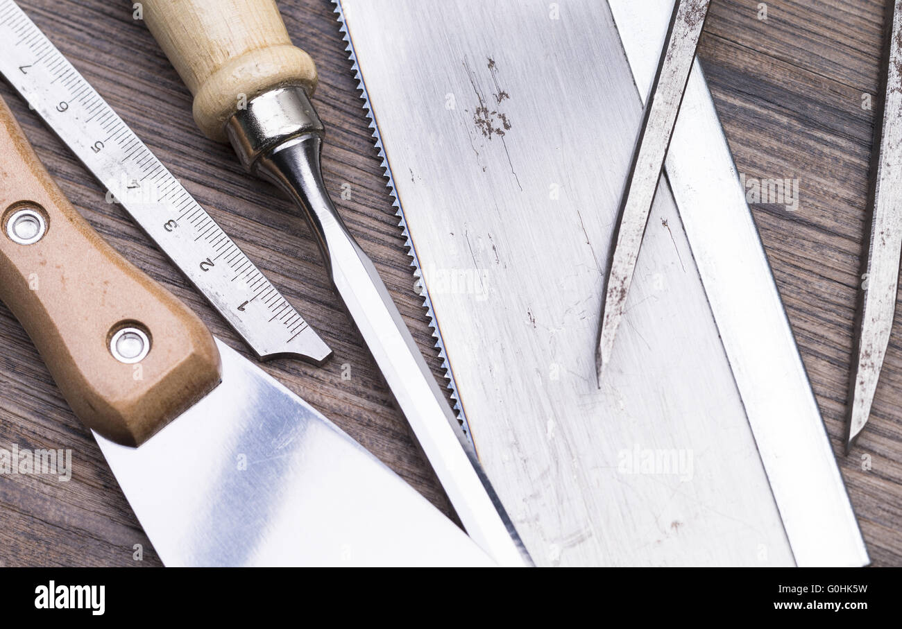 Tools on table Stock Photo