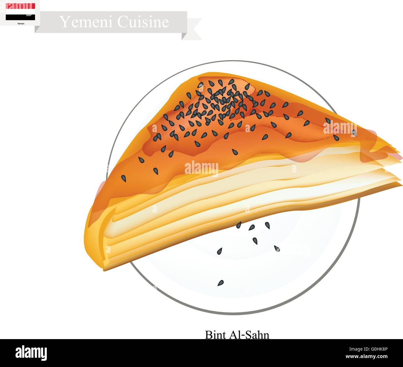 Yemeni Cuisine, Bint Al Sahn or Traditional Phyllo Dough Topping with Sesame and Honey. One of The Most Popular - Stock Vector