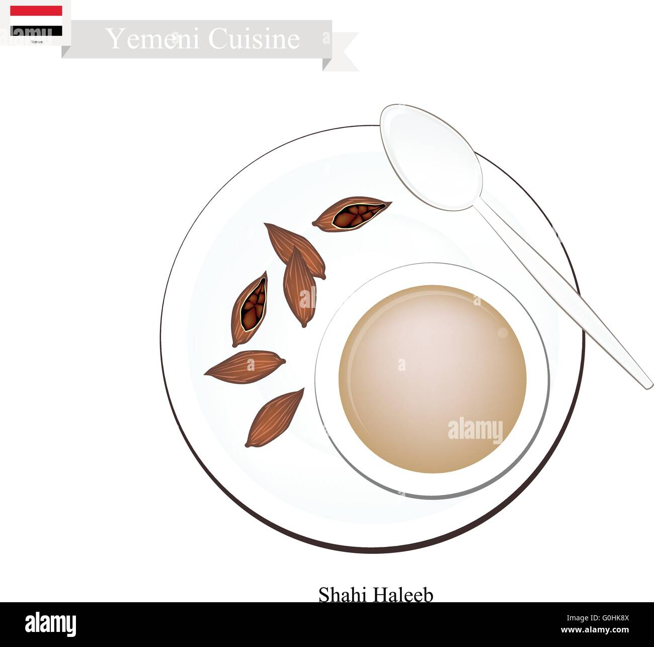 Yemen Cuisine, Shahi Haleeb or Traditional Milk Tea with Sugar, Cardamom Pods and Cloves. One of The Most Popular - Stock Vector