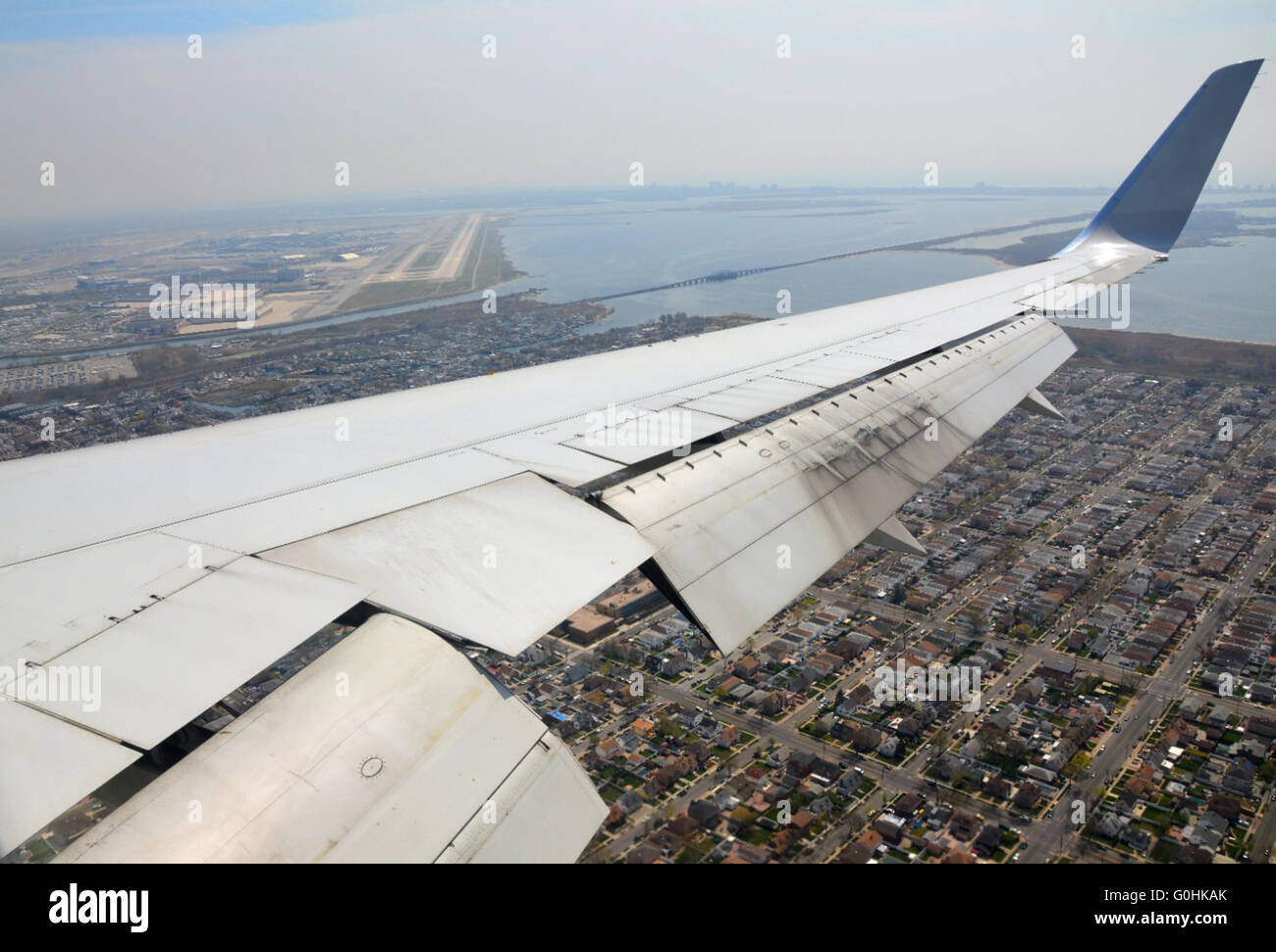 On final approach to New York's JFK Airport - Stock Image