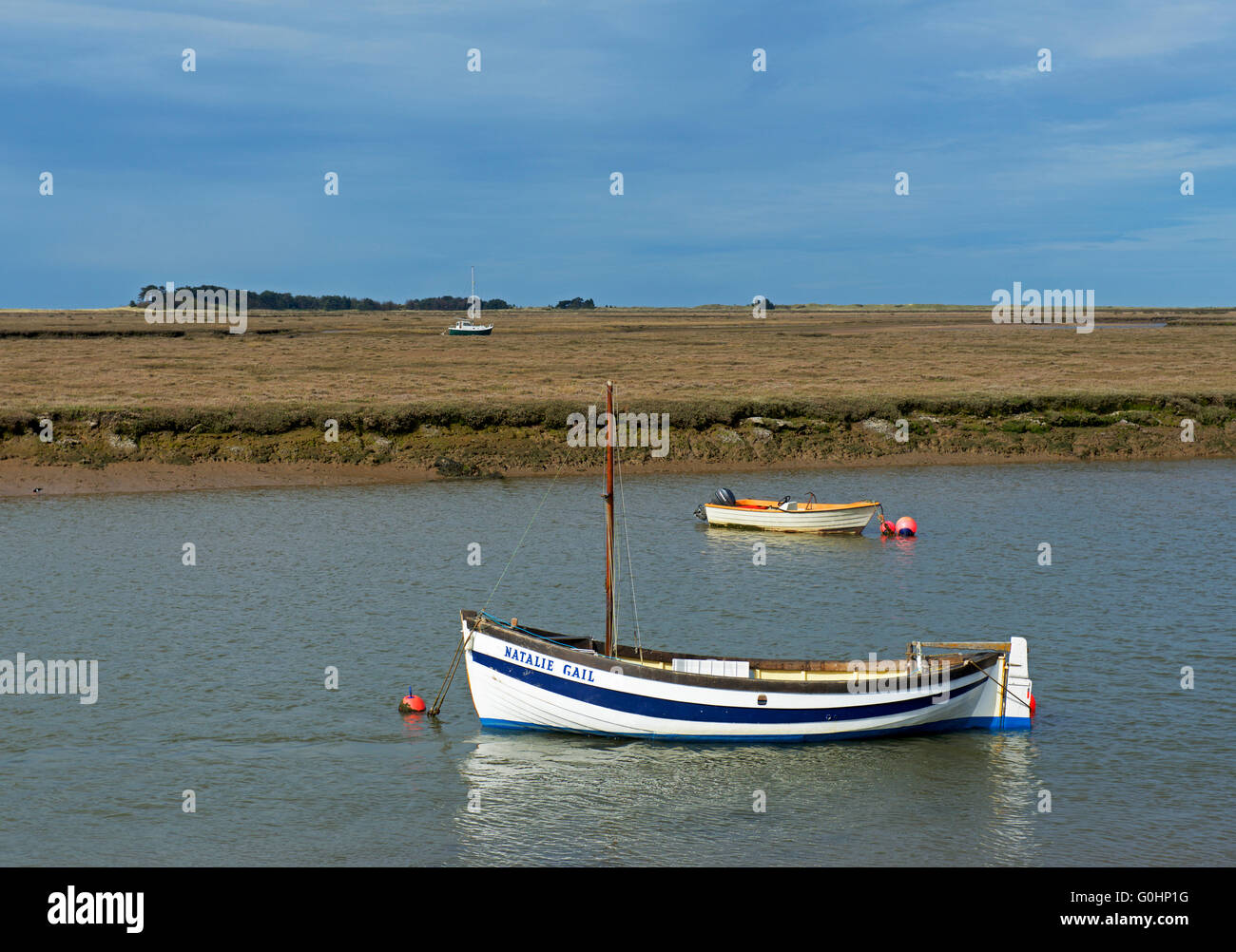 Boats moored at Well-next-the-Sea, Norfolk, England UK Stock Photo