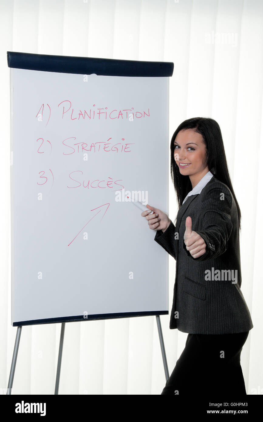 Coach flip chart in French. Training and education Stock Photo