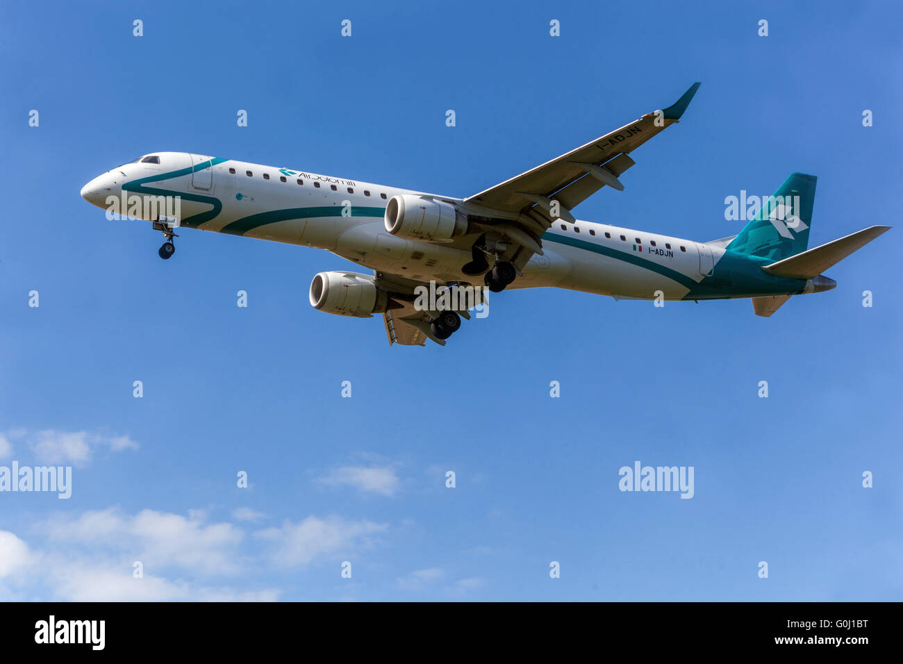 Air Dolomiti, Embraer ERJ-195LR approaches for landing, Prague, Czech Republic - Stock Image