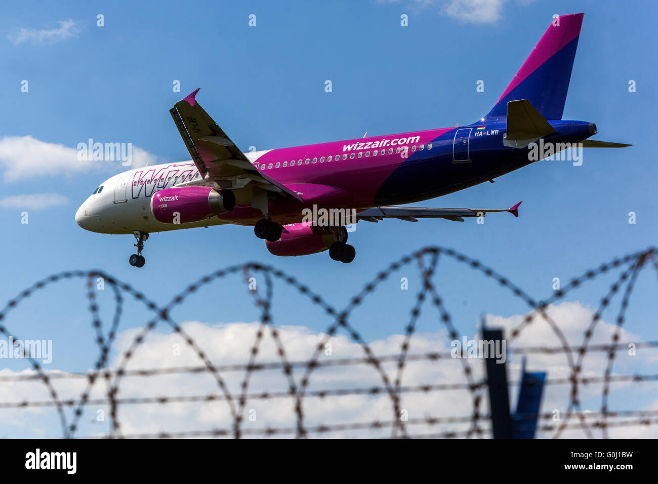 Wizz Air, Airbus A320 approaches for landing, Prague, Czech Republic - Stock Image