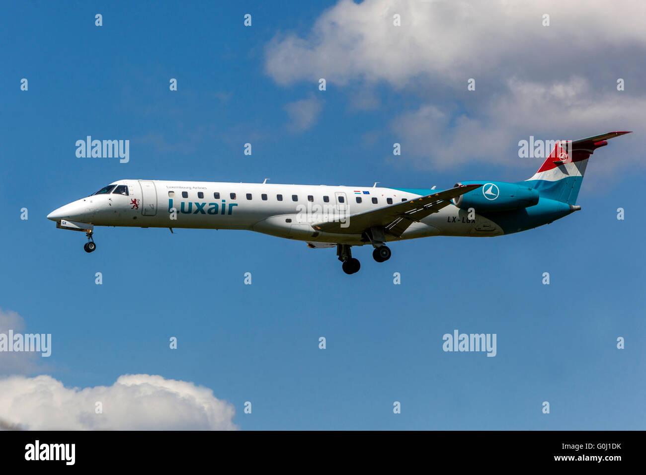 Luxair, Embraer ERJ-145 approaches for landing Prague, Czech Republic - Stock Image
