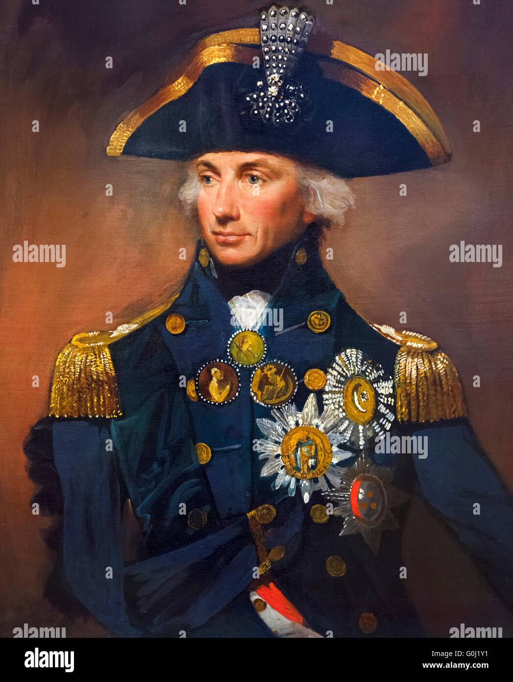 Lord Nelson. Portrait of Rear-Admiral Sir Horatio Nelson (1758-1805) by Lemuel Francis Abbot, oil on canvas, 1799. - Stock Image