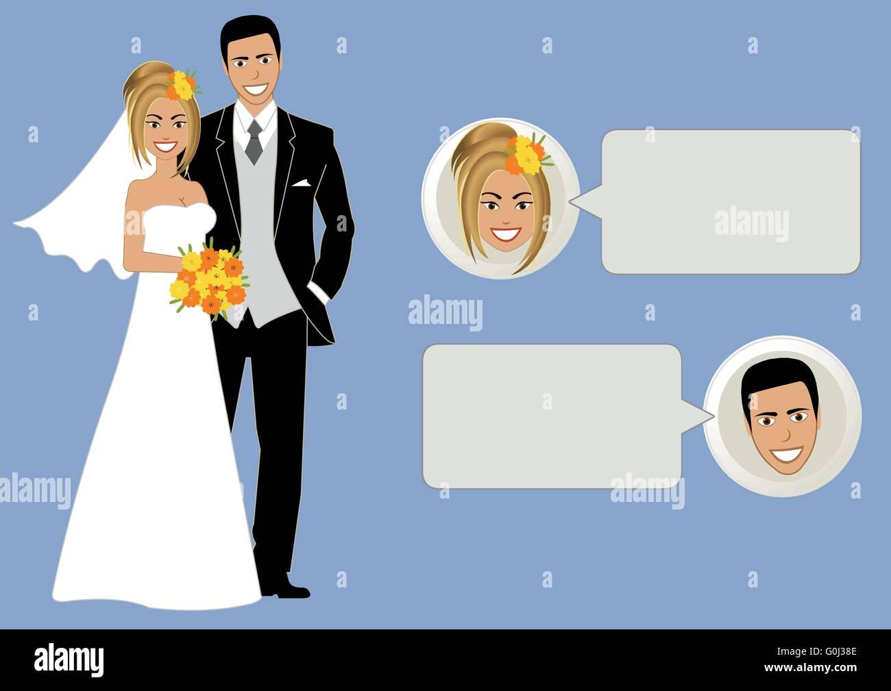 bride and groom vector cartoon speech bubble Stock Vector