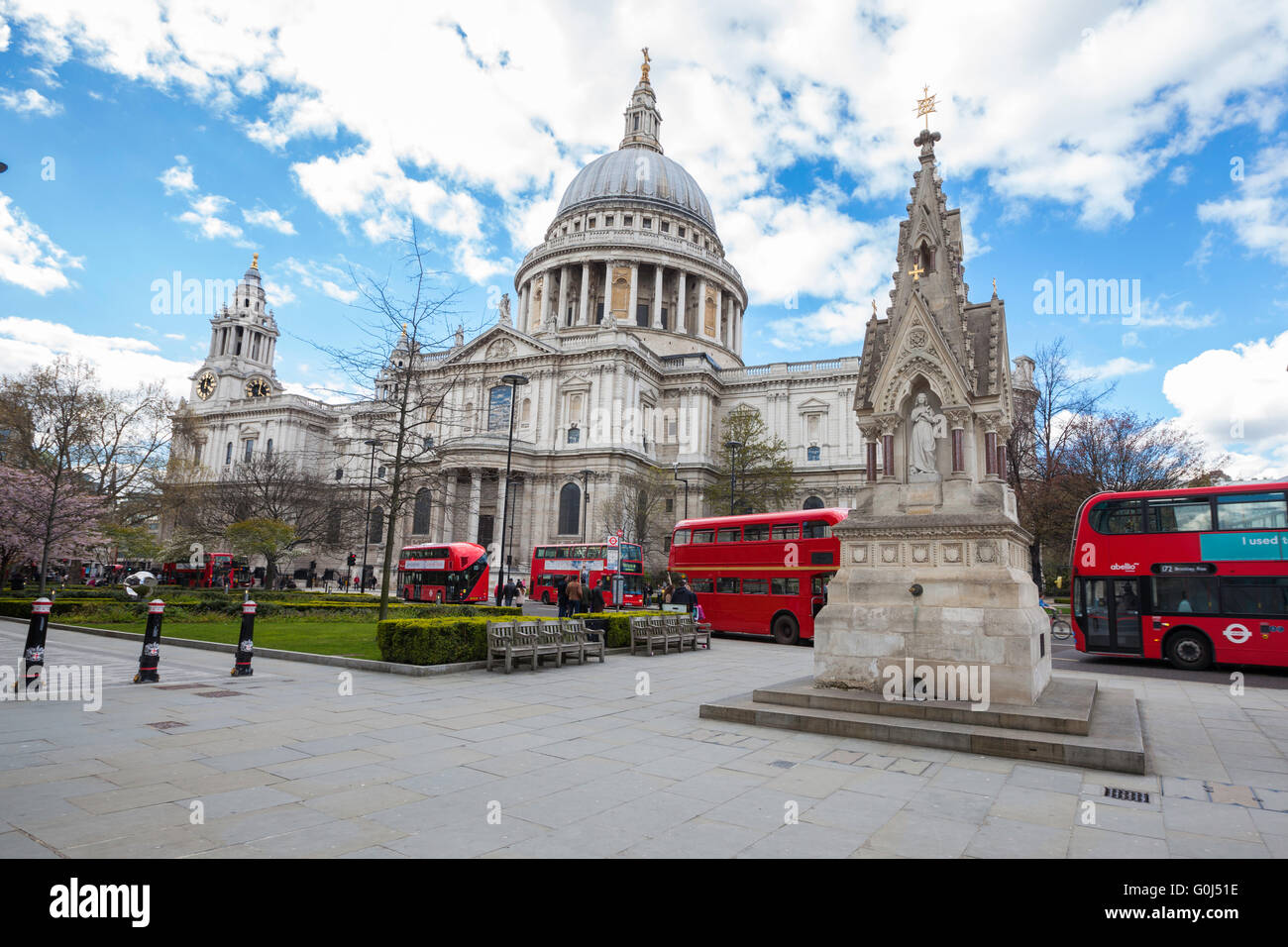 London Saint Paul Cathedral and its red buses Stock Photo