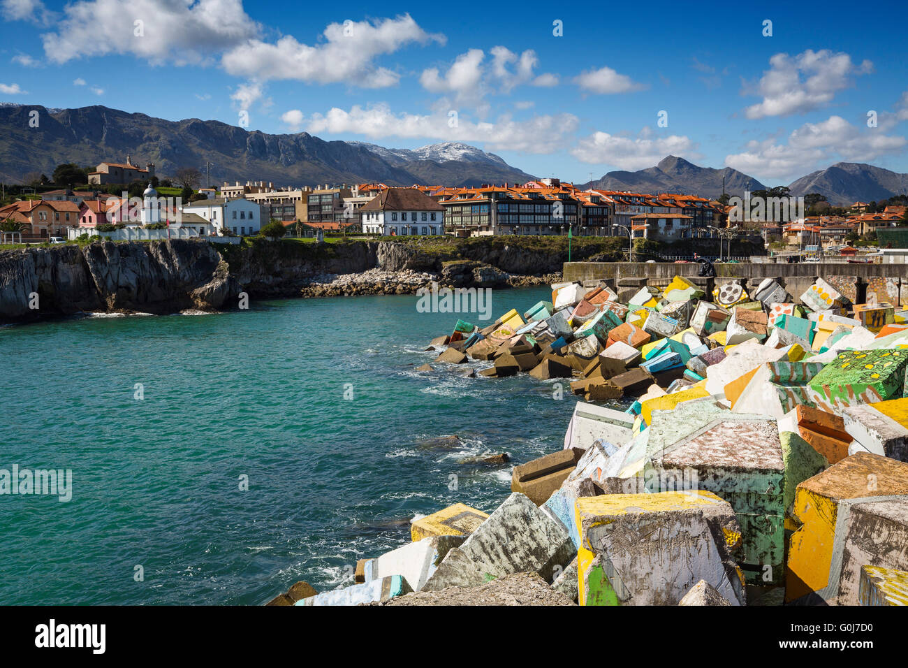 Cubos de la Memoria by artist Agustín Ibarrola.Fishing port Marina. Fishing village of Llanes, Cantabrian Sea, - Stock Image