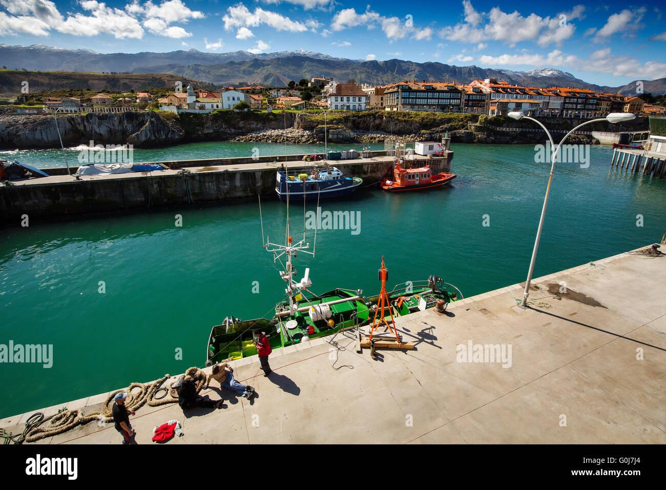 Fishing port Marina. Fishing village of Llanes, Cantabrian Sea, Asturias, Spain Europe - Stock Image
