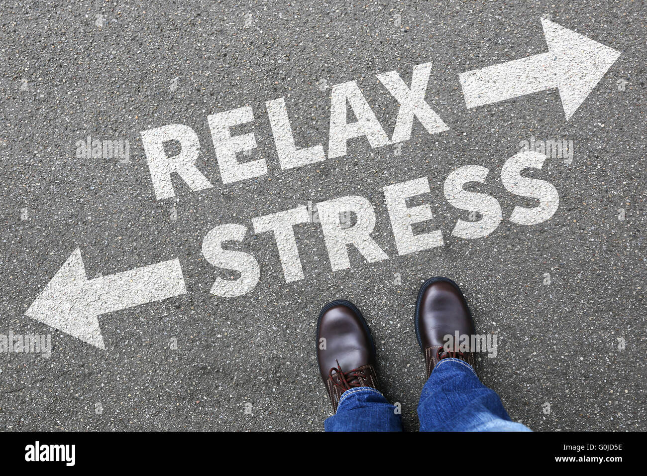 Stress stressed and relax relaxed health businessman business man concept pressure in job - Stock Image