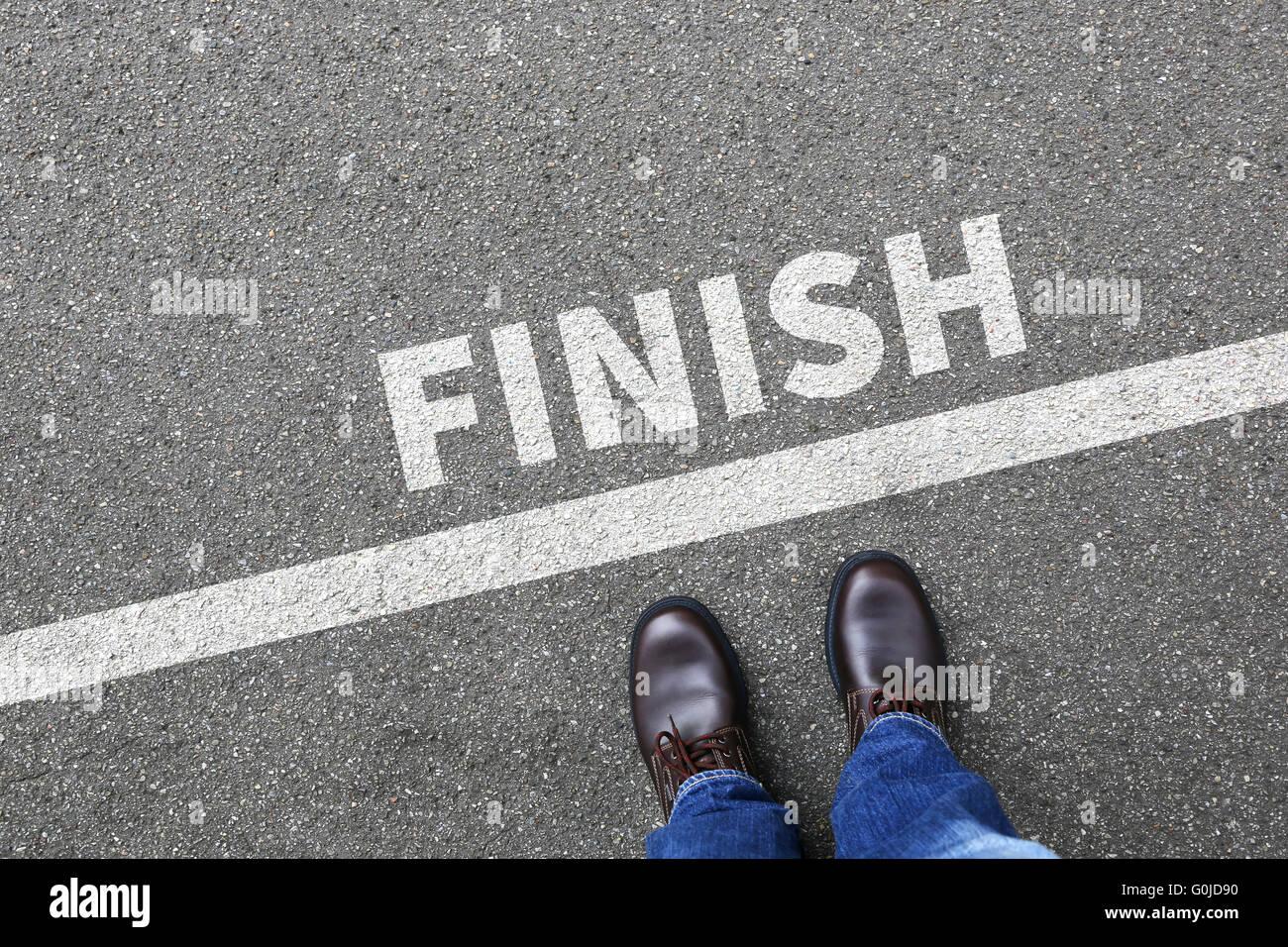 Finish line winning success running race businessman business man concept career goals motivation vision - Stock Image