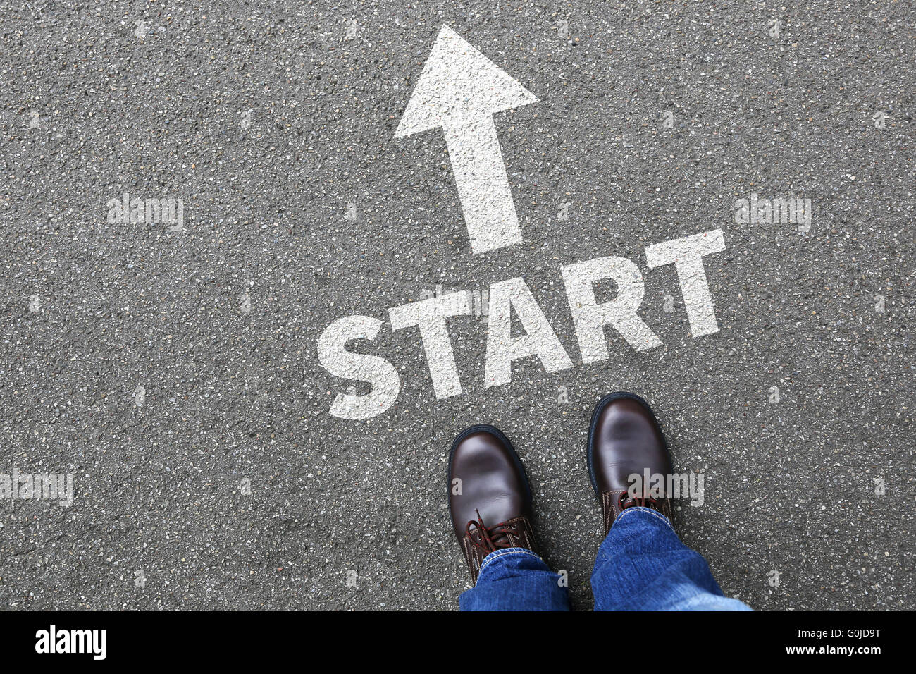 Start starting begin beginning businessman business man concept career goals motivation vision - Stock Image