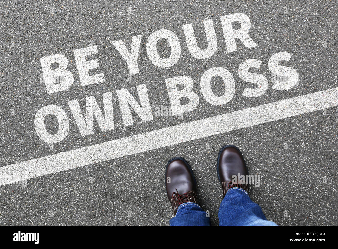 Self-employed self employed employment be your own boss businessman business man concept - Stock Image