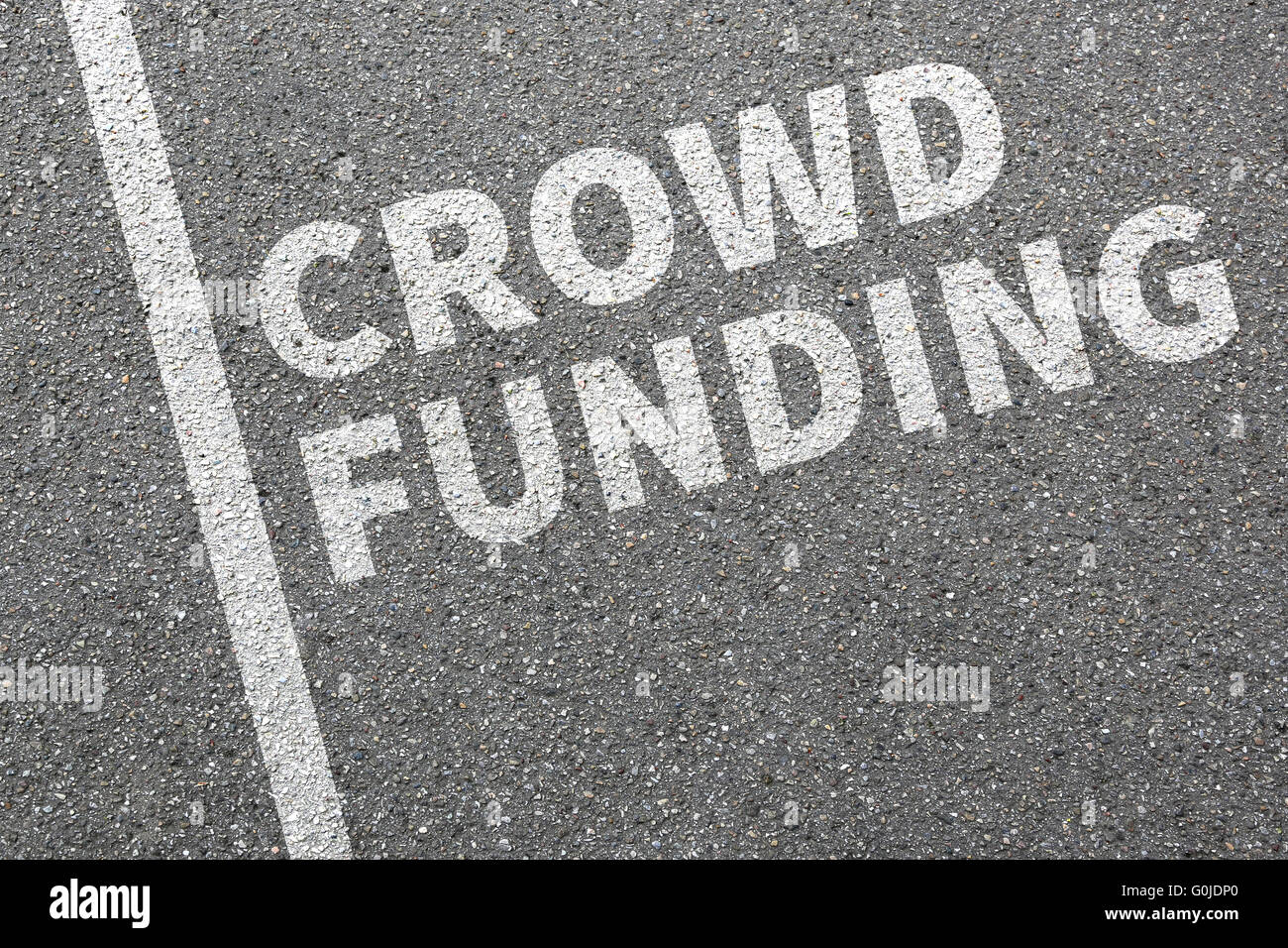 Crowd funding crowdfunding collecting money online investment internet business concept financial campaign economy - Stock Image