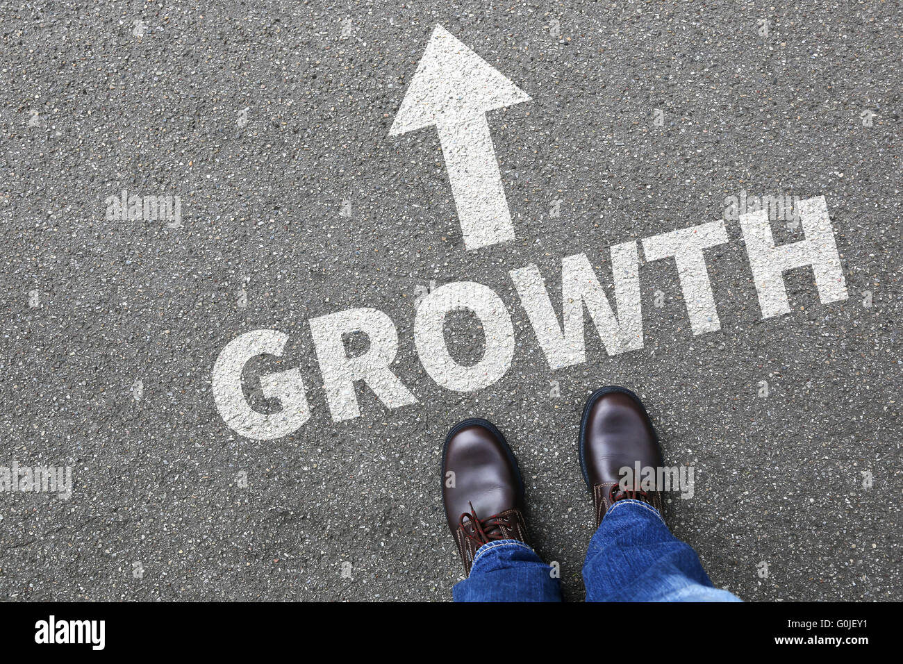 Businessman business man concept with growth growing success successful finances - Stock Image