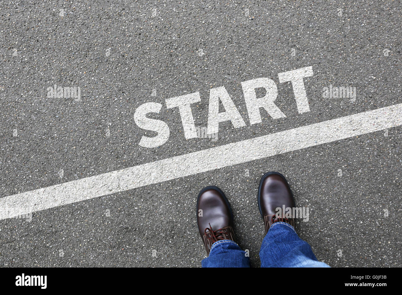 Start starting running race begin beginning businessman business man concept career goals motivation vision - Stock Image