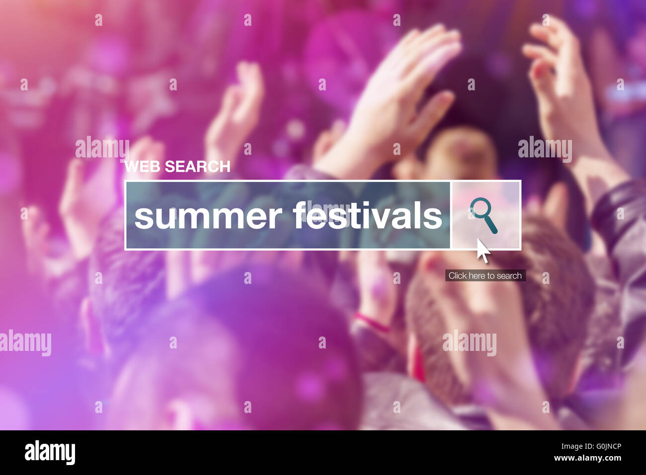 Web search bar glossary term - summer festivals definition in internet glossary. - Stock Image