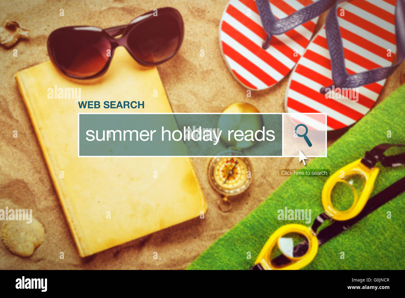 Web search bar glossary term - summer holiday reads definition in internet glossary. - Stock Image
