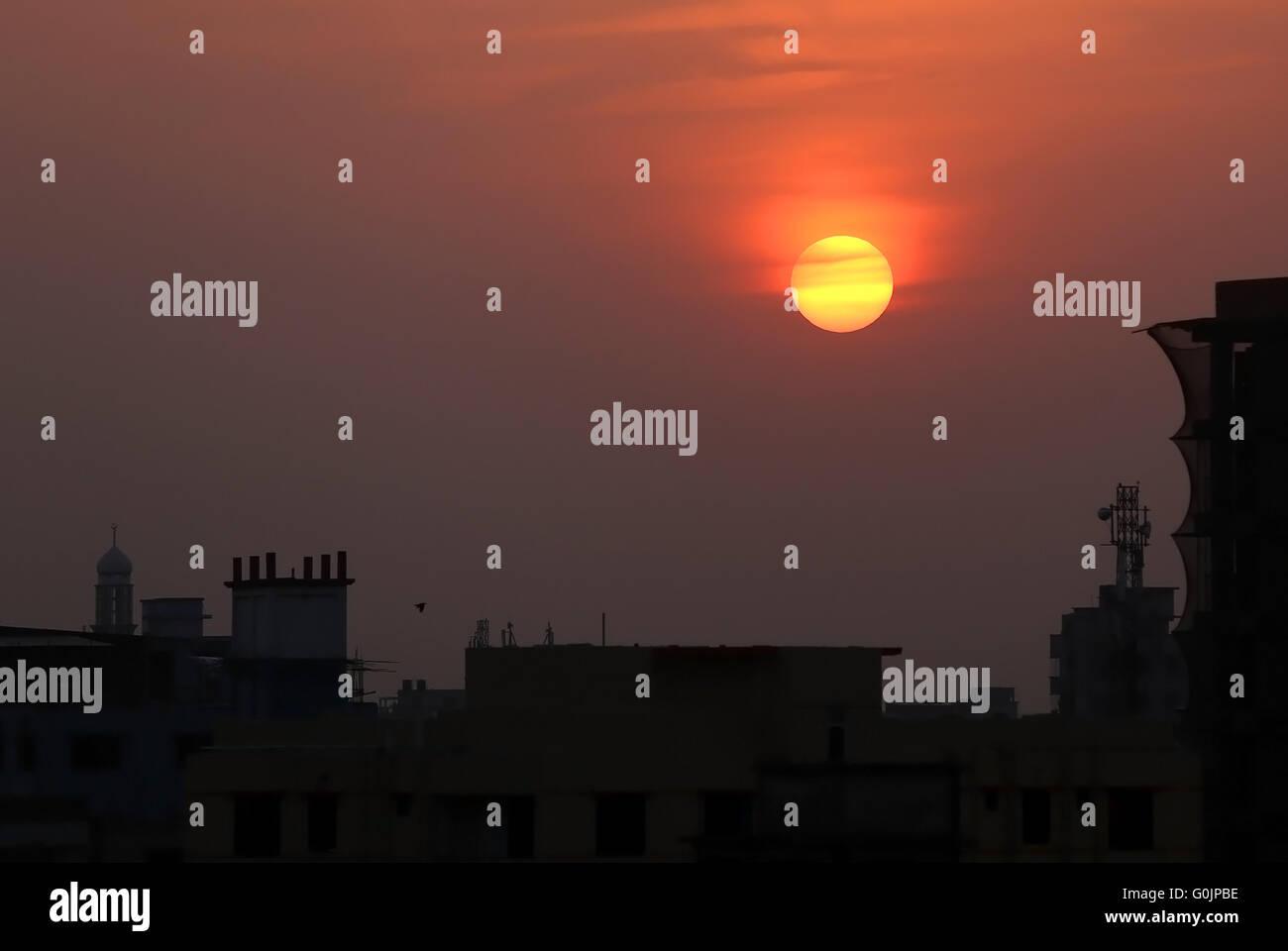 Sunset in suburban area outskirt of Dhaka Bangladesh - Stock Image