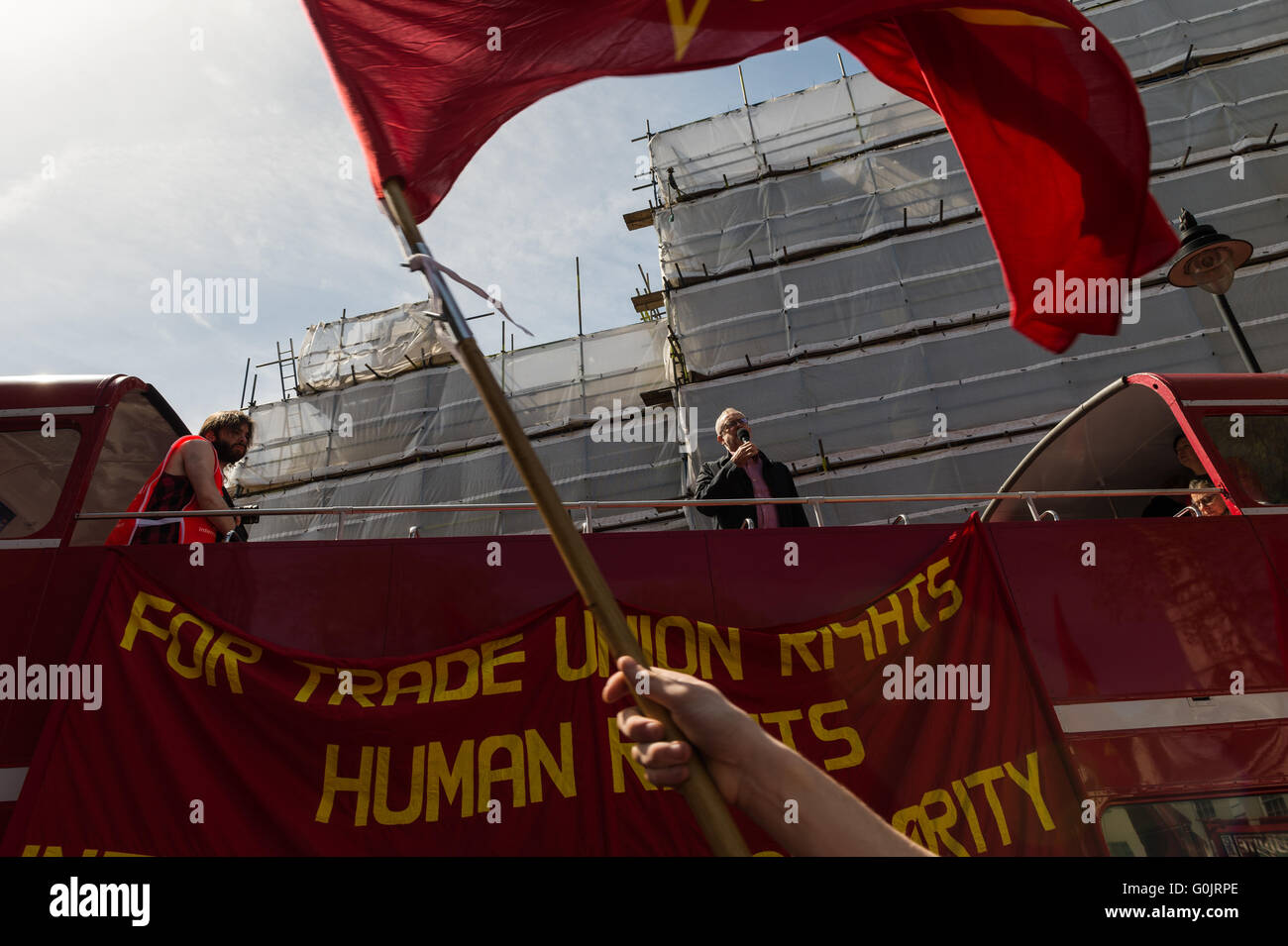 London, UK. 1st May 2016. Jeremy Corbyn, leader of the Labour Party, speaks during May Day rally. Wiktor Szymanowicz/Alamy Stock Photo