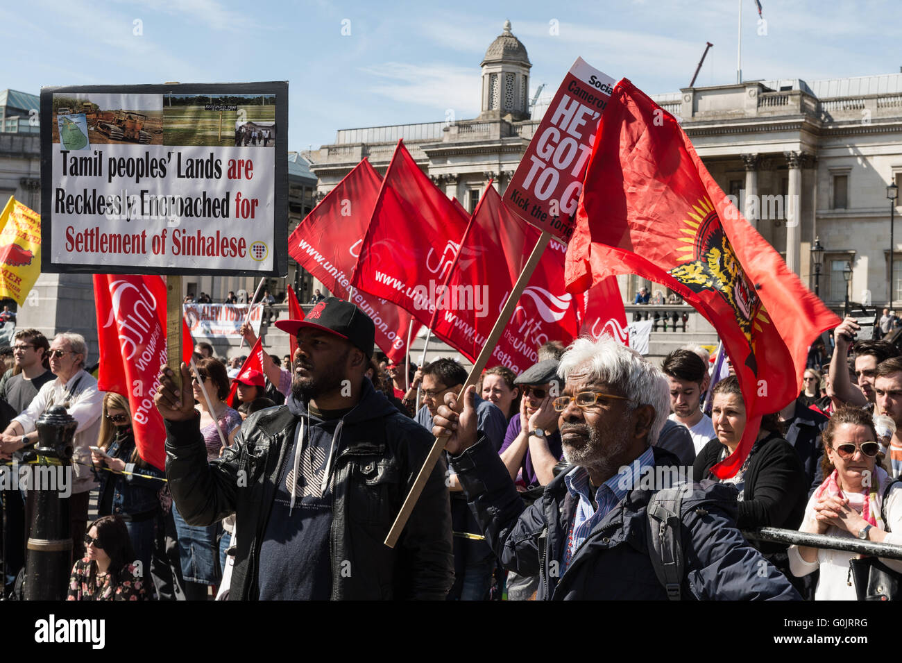 London, UK. 1st May 2016. Workers and trade unions' activists from Britain and around the world gathered at - Stock Image