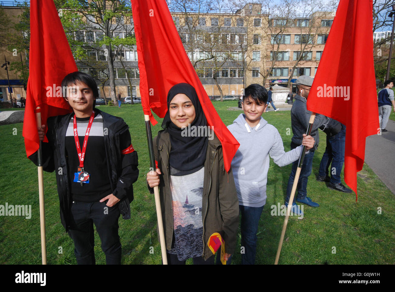 London, UK. 1st May, 2016. family and generations of Bangladesh garment workers who rally each may day, Since the Stock Photo
