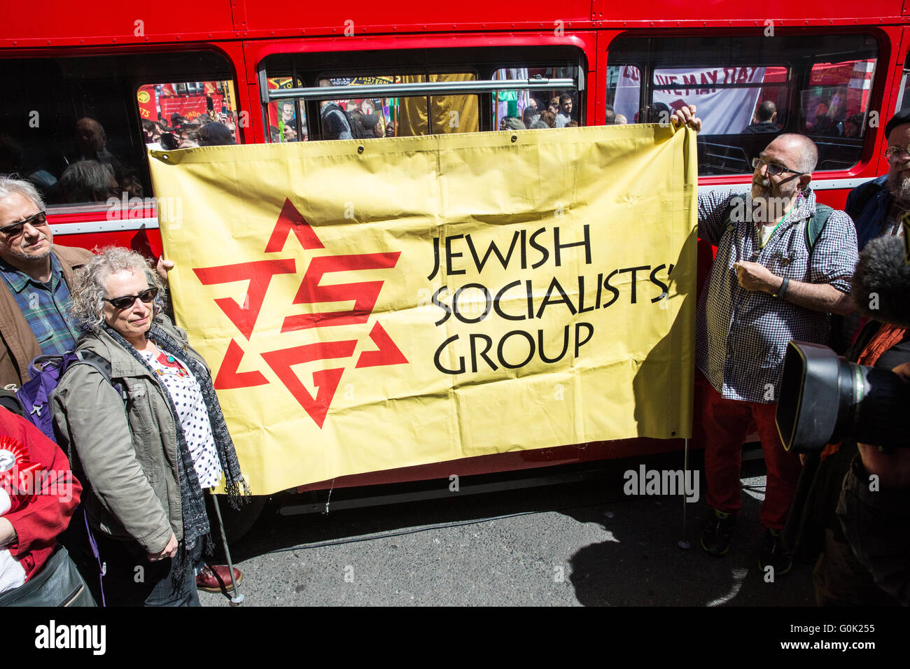 London, UK. 1st May, 2016. A Jewish Socialists' Group banner at the May Day rally on Clerkenwell Green. Credit: - Stock Image