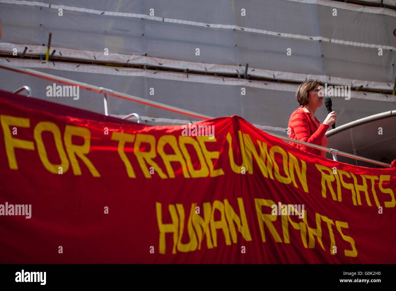London, UK. 1st May, 2016. Frances O'Grady, General Secretary of the British Trades Union Congress (TUC), addresses - Stock Image