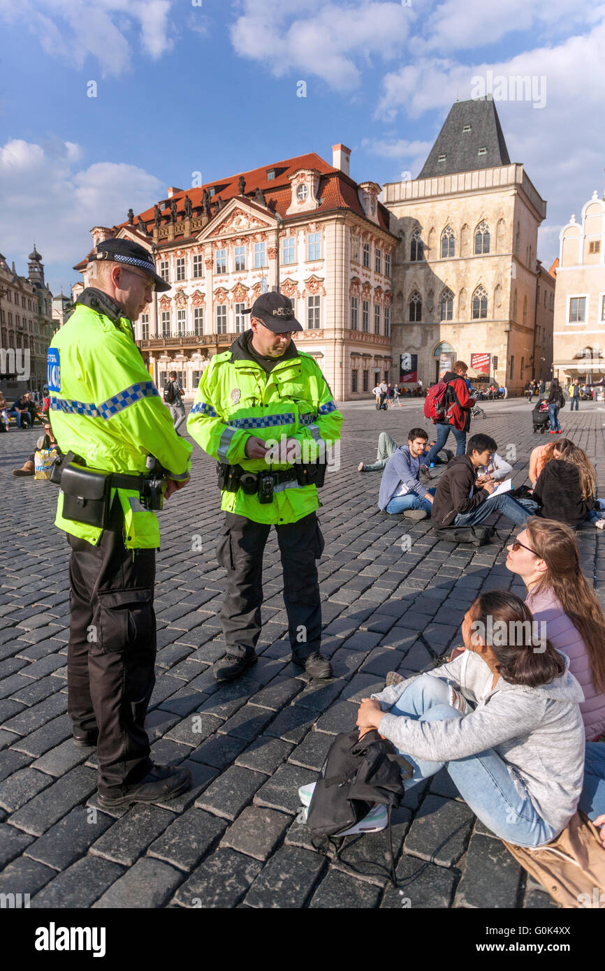 Old Town Square, Prague, Czech Republic, May 2, 2016. For feeding pigeons in a public place a disciplinary fine. - Stock Image