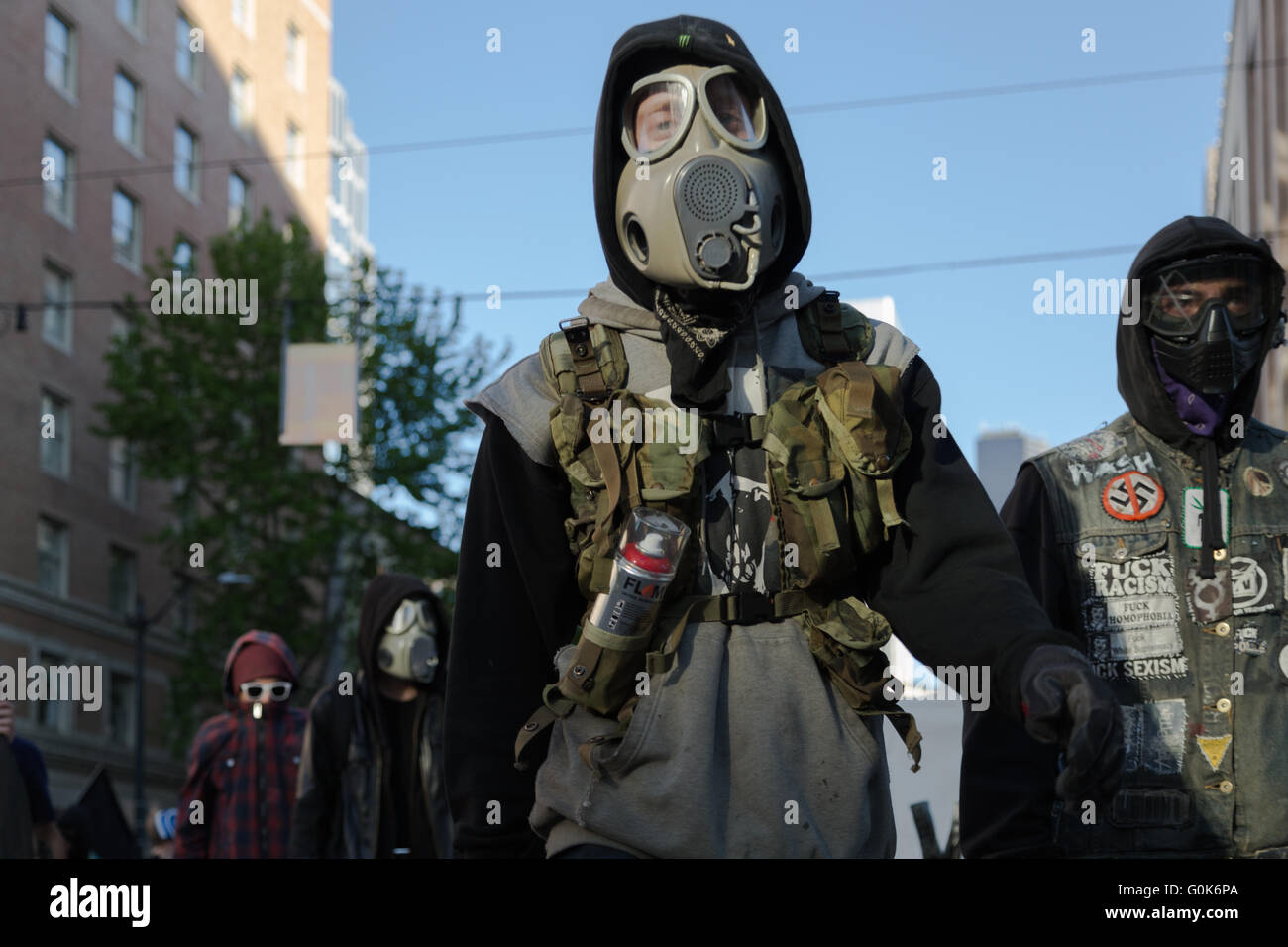 Seattle, USA. 1st May, 2016. Anti-Capitalist/Police/Racism protesters. - Stock Image