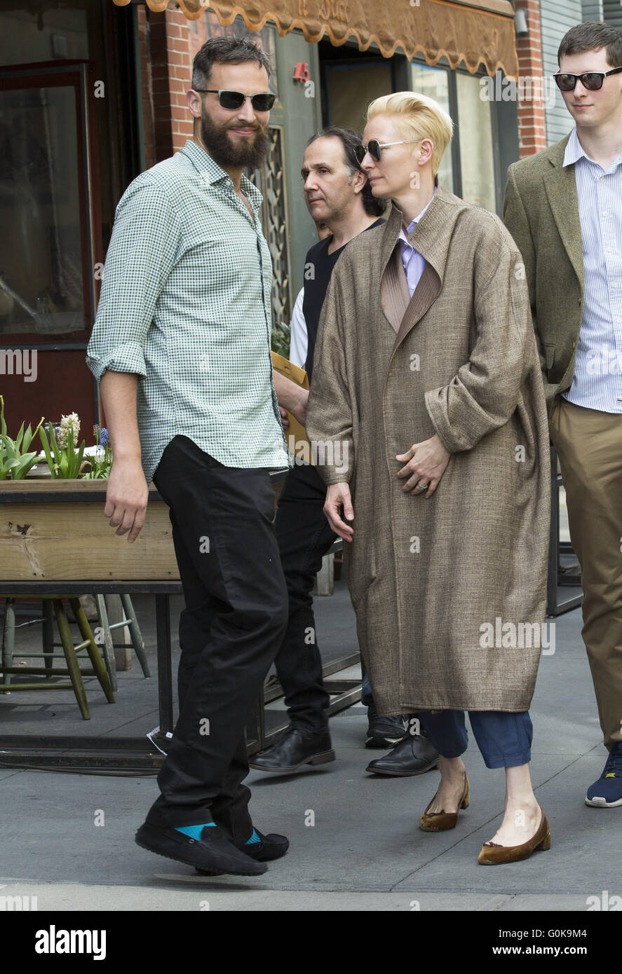 Tilda Swinton And Sandro Kopp Out And About In New York City Stock Photo Alamy