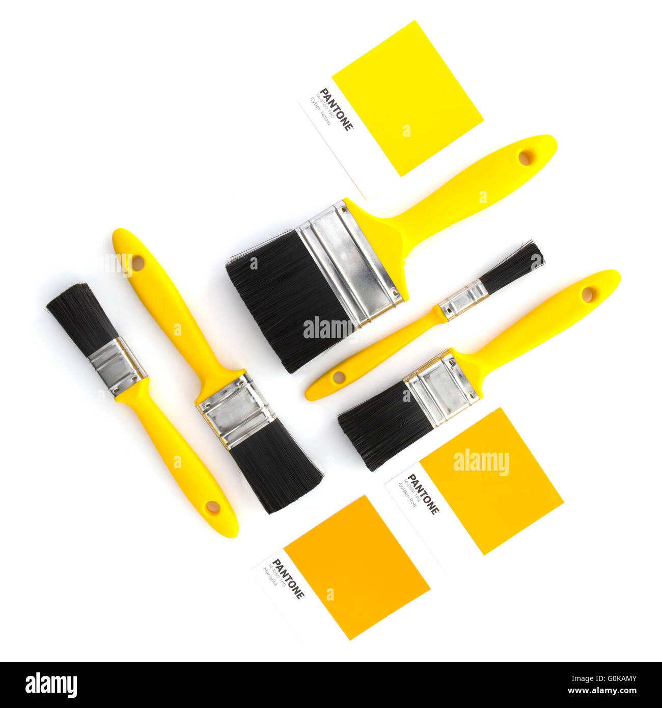 Collection of yellow paint brushes with Pantone colour samples on a white background flatlay - Stock Image