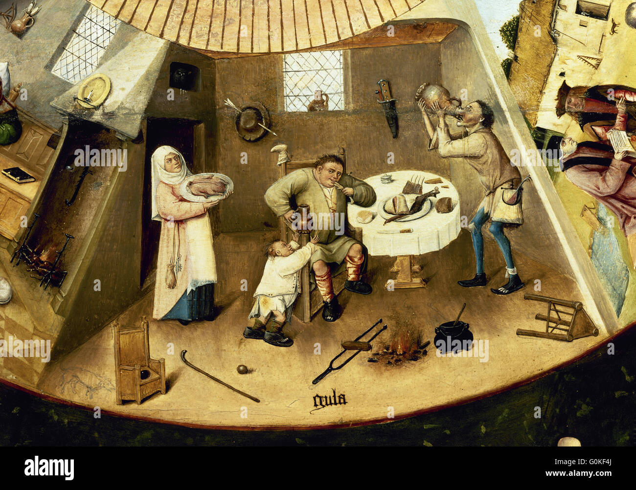 Hieronymus Bosch (c.1450-1516). Dutch painter. Table of the Seven Deadly Sins. Detail of the Gluttony. Prado Museum. - Stock Image