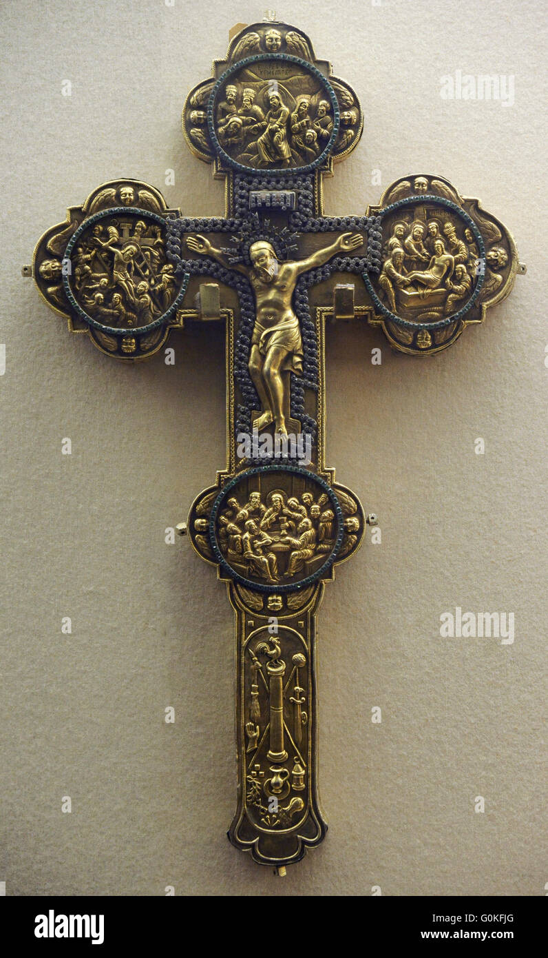 Reliquary Cross. Silver, glass; chasing. Russia. 1704. The State Hermitage Museum. Saint Petersburg. Russia. - Stock Image