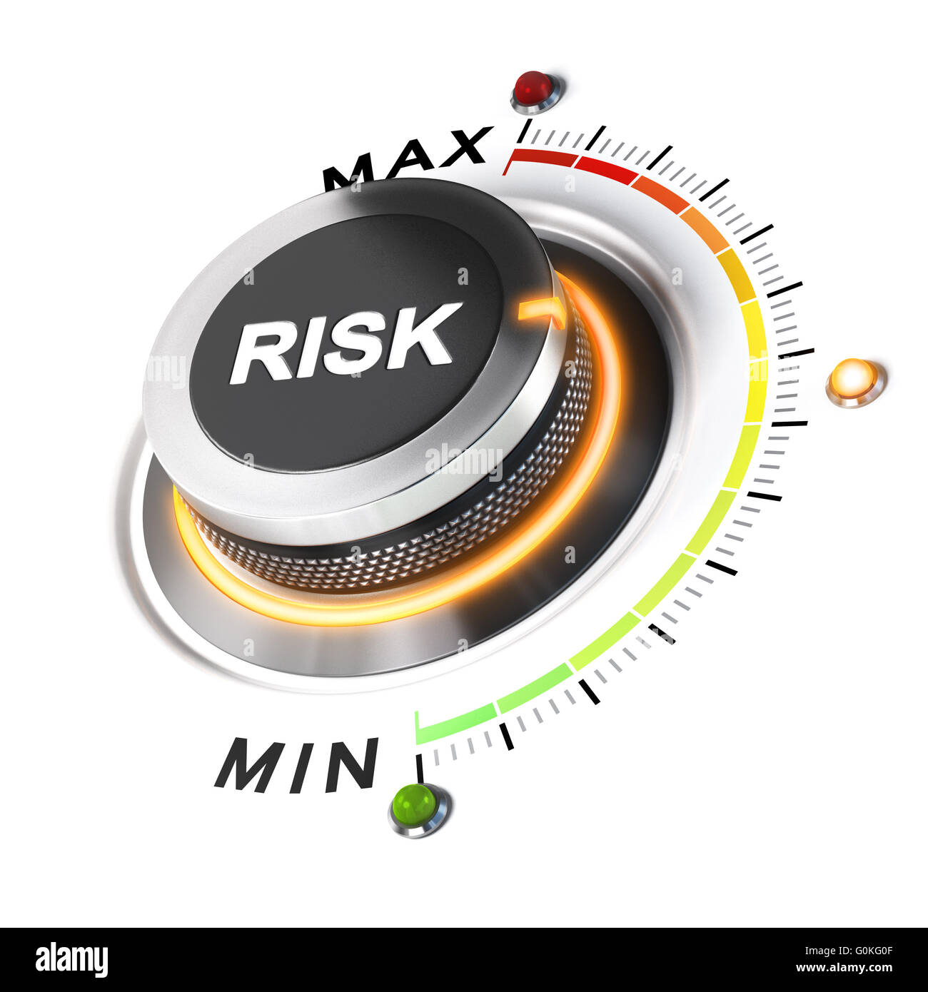 Risk level knob positioned on medium position, white background and orange light. 3D illustration concept for business - Stock Image