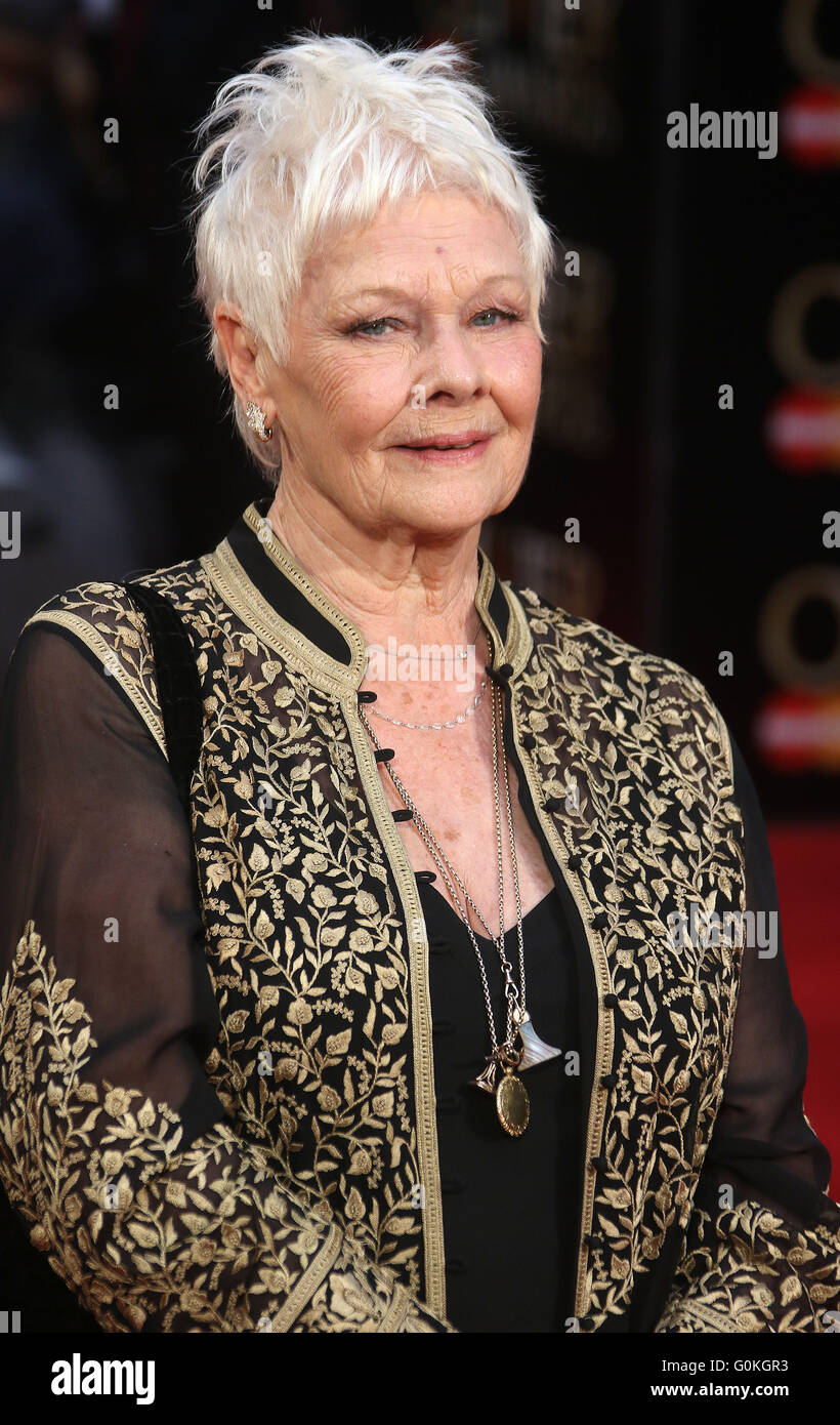 April 3, 2016 - Dame Judi Dench attending The Olivier Awards 2016 at Royal Opera House, Covent Garden in London, Stock Photo