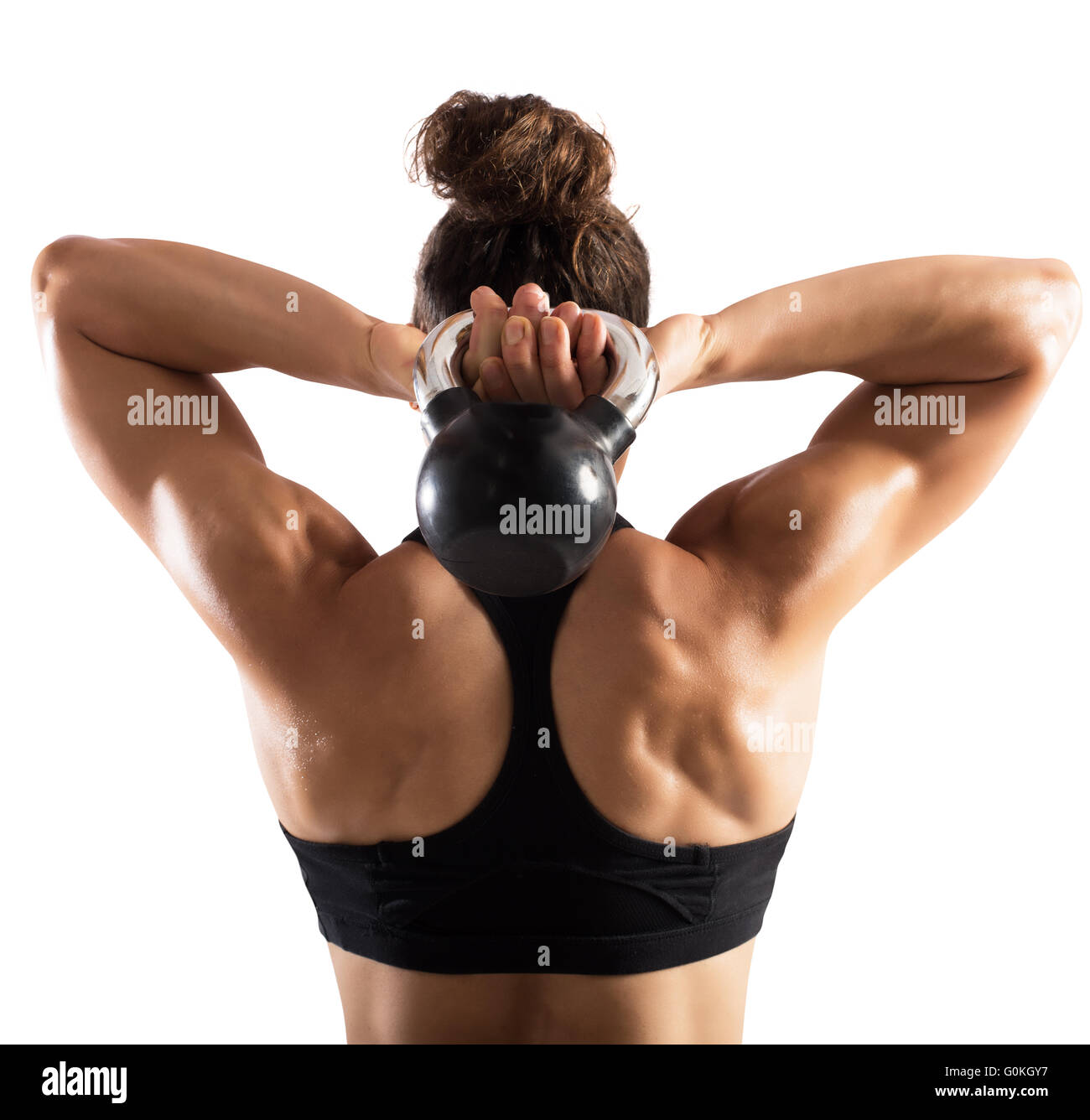 Workout with kettlebell - Stock Image