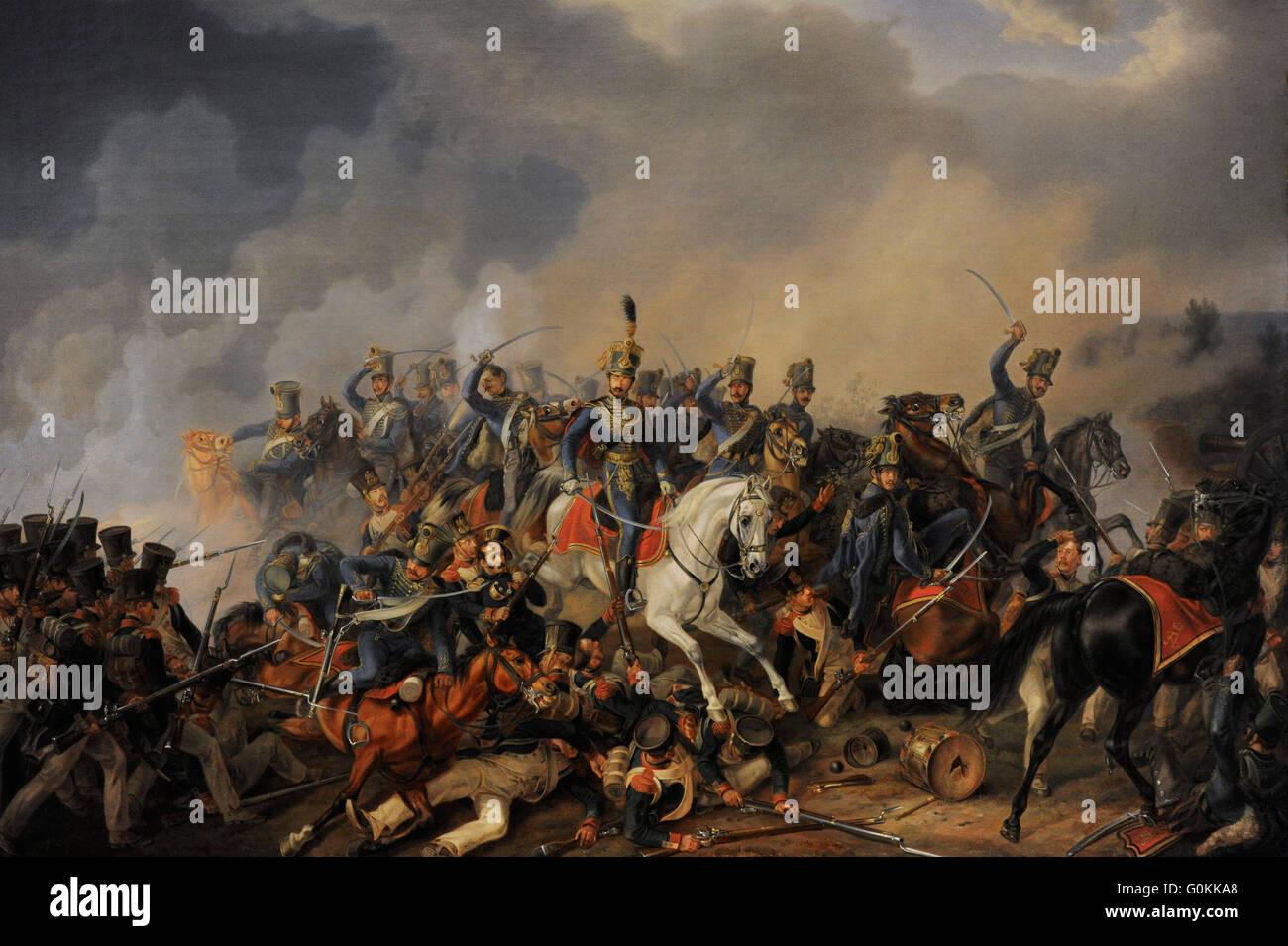 Albrecht Adam (1786-1862). German painter. Battle Scene, 1838. Oil on canvas. The State Hermitage Museum. Saint - Stock Image