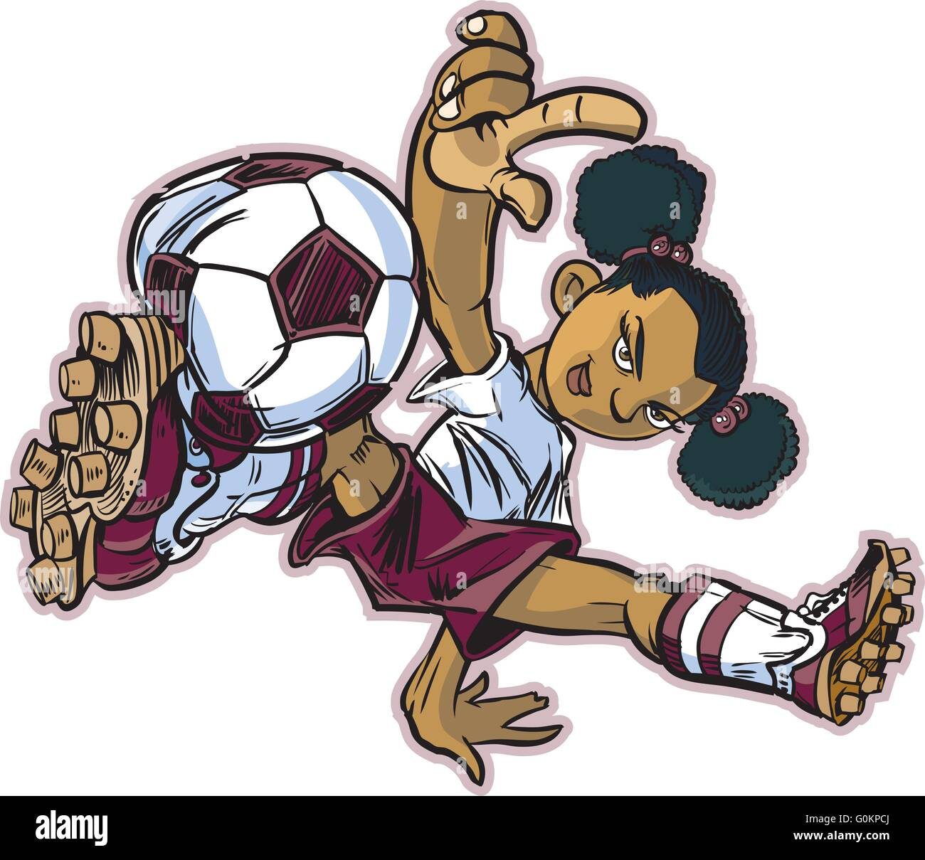 cartoon female soccer player kicking stock photos cartoon female